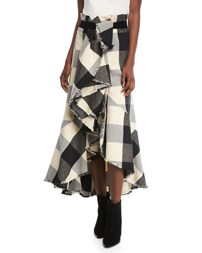 Texan Garden Plaid Asymmetric Tiered Ruffled Canvas Skirt