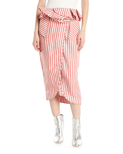 Mil Rayas Striped Peplum Midi Skirt