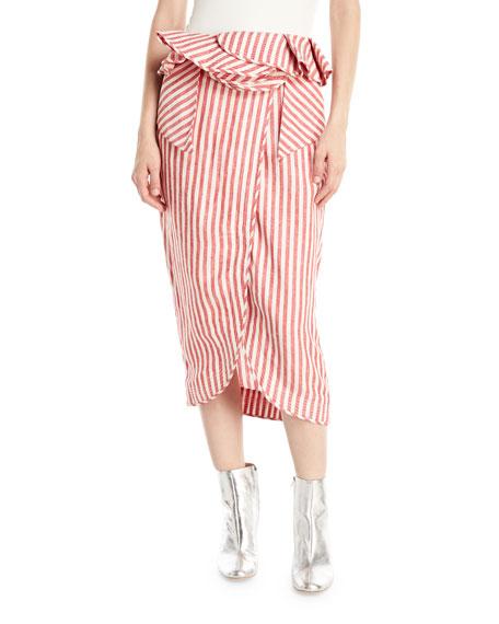 Mil Rayas Striped Peplum Midi Skirt