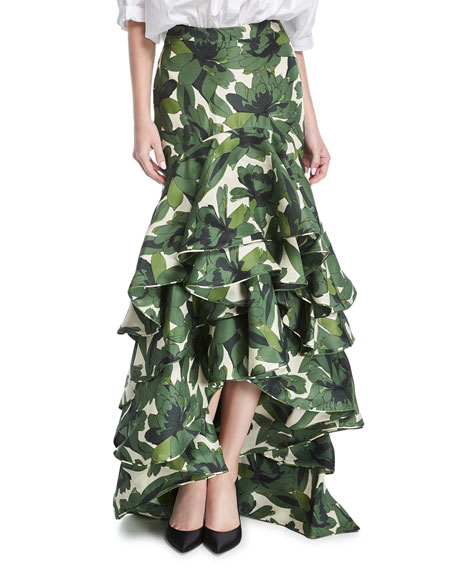 La Penca Ruffled High-Waist Maxi Skirt