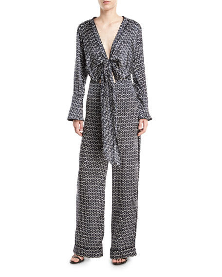 SILK PRINTED JUMPSUIT WITH TIE FRONT