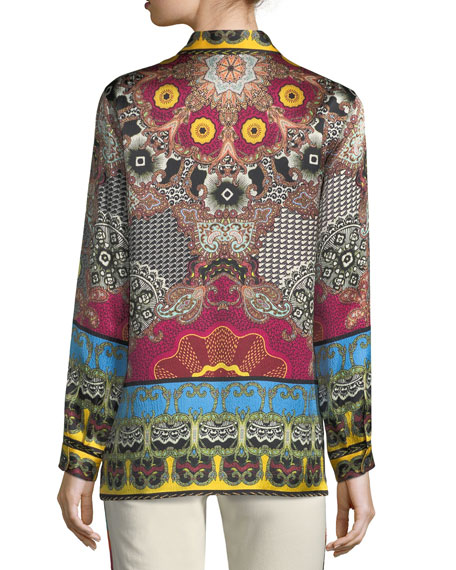 Button-Front Mandala-Print Silk Shirt