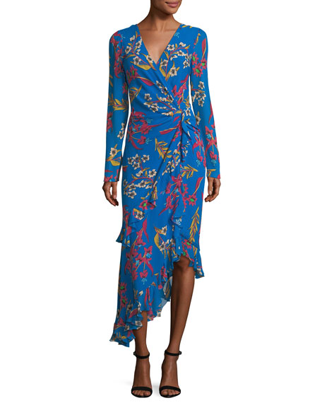 Floral-Print Silk Wrap Midi Dress