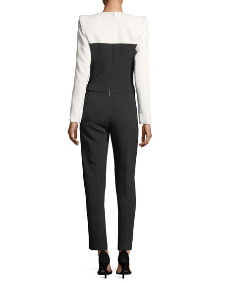 Colorblock Staple-Trim Tuxedo Jumpsuit