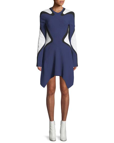 Long-Sleeve Graphic Crepe Dress