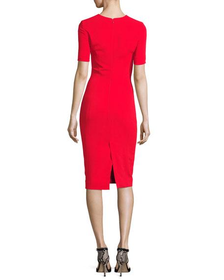 Slashed Staple-Trim Short-Sleeve Dress