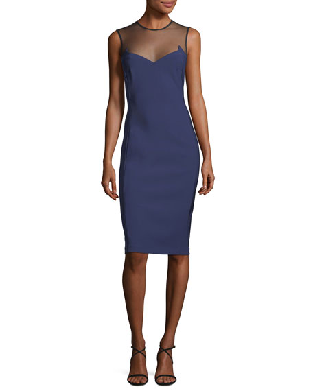 MUGLER SLEEVELESS ILLUSION-YOKE SHEATH DRESS, BLUE