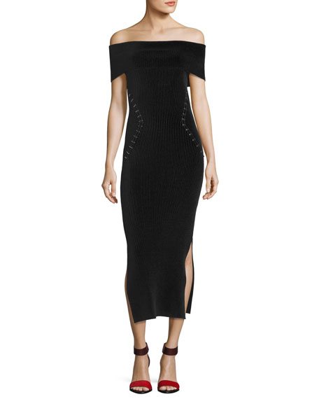 Staple-Trim Off-Shoulder Midi Dress