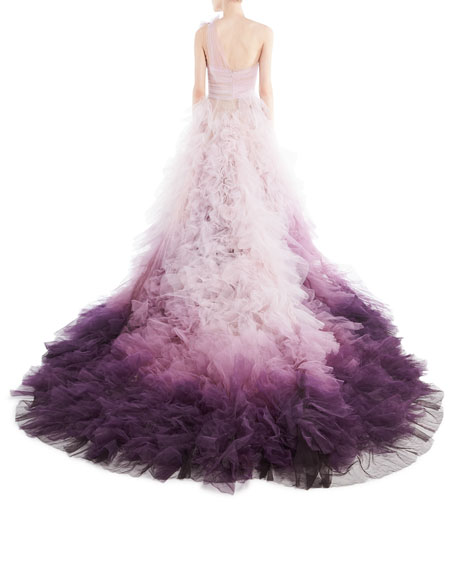 Ombre Tulle One-Shoulder Ball Gown