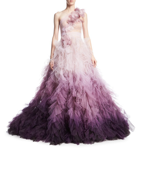 Marchesa one-shoulder ombré tulle gown Clearance Cheap Online Best Place Outlet Choice In China Online PIDdURxi