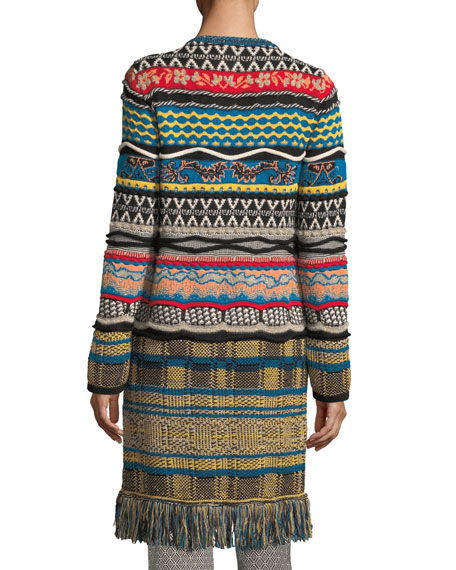 Tapestry Knit 3/4-Length Cardigan