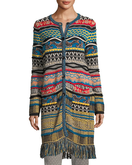 Tapestry Knit 3/4-Length Cardigan