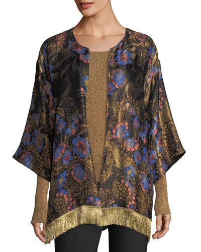 Kesa Floral Jacquard Fringe Jacket