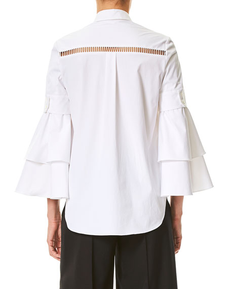Ladder-Stitch Ruffle-Sleeve Blouse