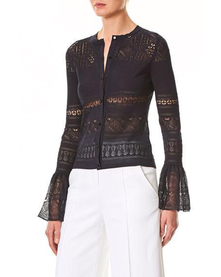 Crocheted Lace Ruffle-Cuff Cardigan