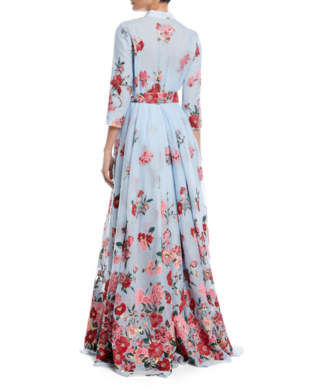 Embroidered 3/4-Sleeve Shirtwaist Gown