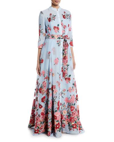Embroidered 3/4-Sleeve Shirtwaist Gown