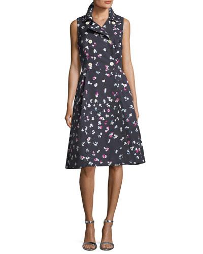 Floral-Print Sleeveless A-line Shirtdress