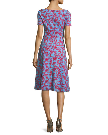 Short-Sleeve Floral-Print Neoprene Dress