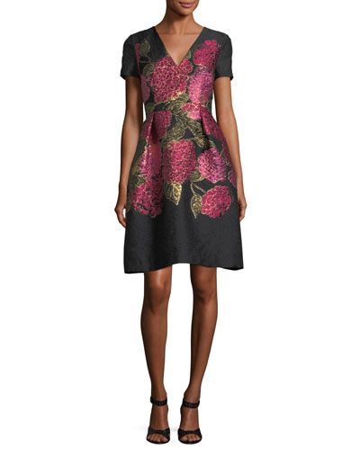 V-Neck Short-Sleeve Floral Jacquard Dress