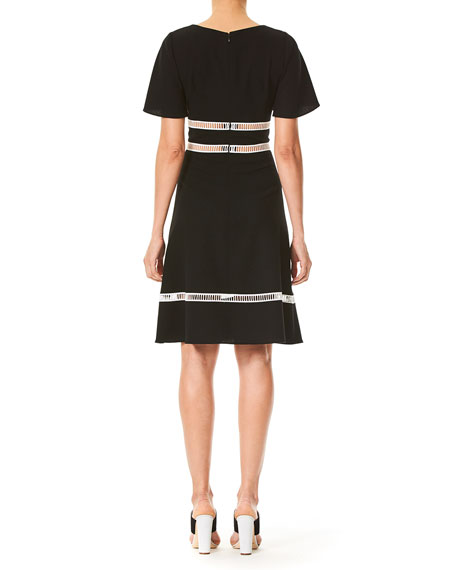 Half-Sleeve Ladder Stitch Dress