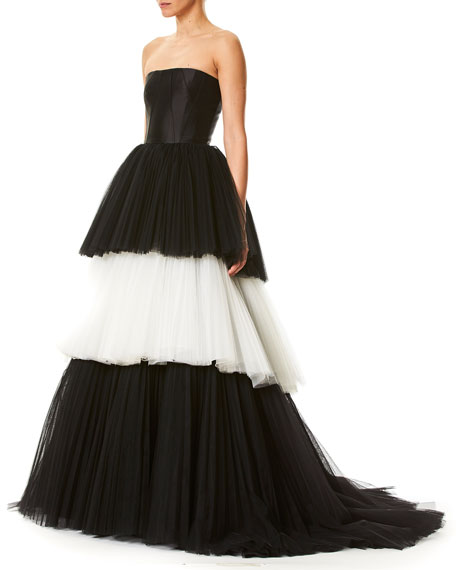 Strapless Bustier Layered Colorblock Tulle Evening Ball Gown