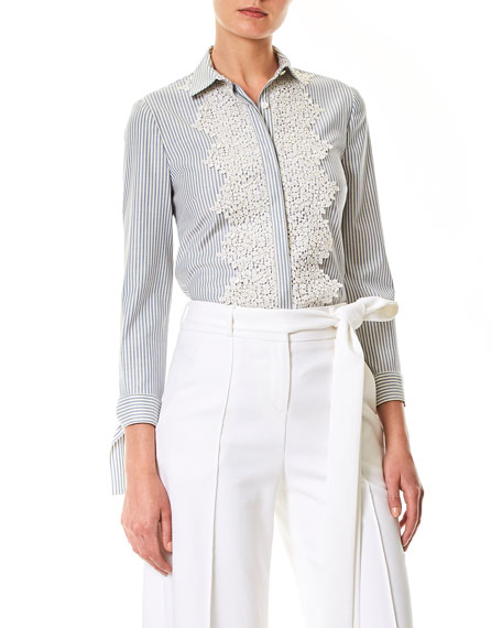Pinstriped Lace-Trim Blouse
