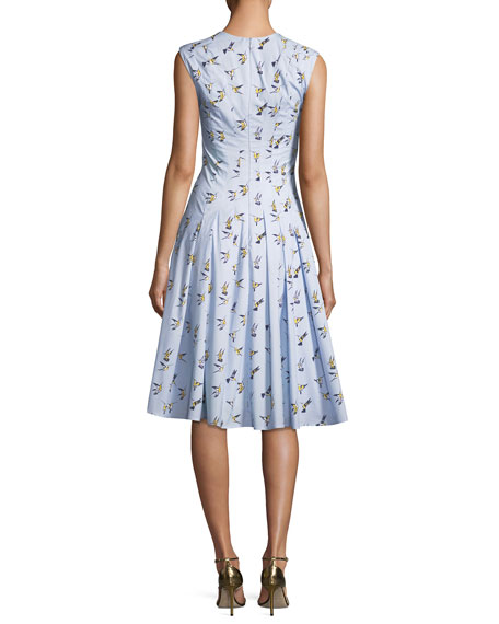 V-Neck Sleeveless Bird-Print Midi Dress