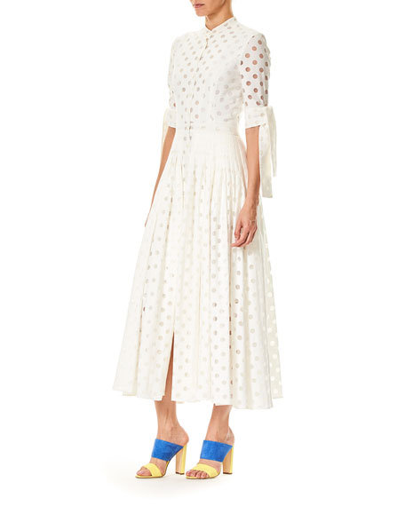 Button-Front 3/4-Sleeve Dotted Midi Dress
