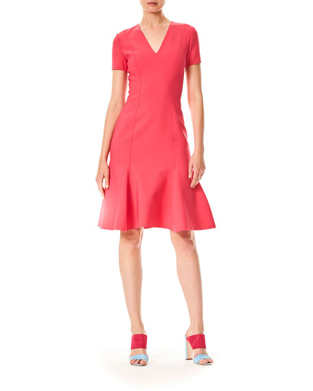 V-Neck Short-Sleeve Virgin-Wool Short Dress