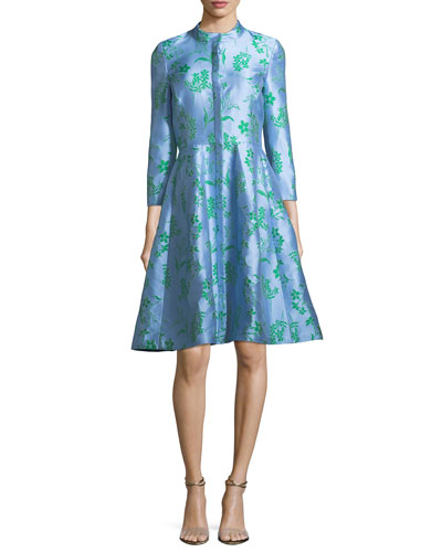 Button-Front 3/4-Sleeve Floral-Printed Dress