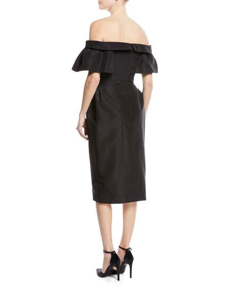 Off-Shoulder Faille Wrap Cocktail Dress