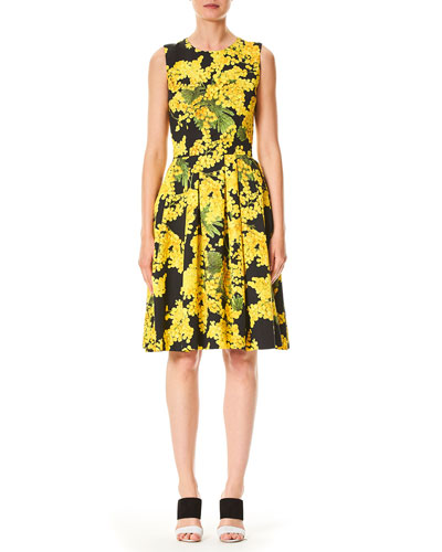 Sleeveless Floral-Print Fit-and-Flare Wool-Blend Day Dress