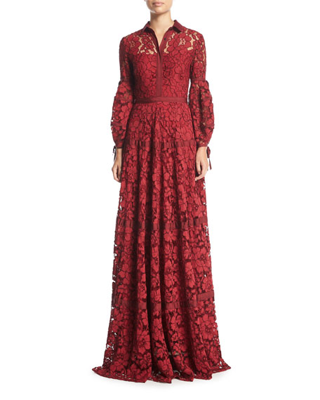 Full-Sleeve Lace Shirtwaist Gown