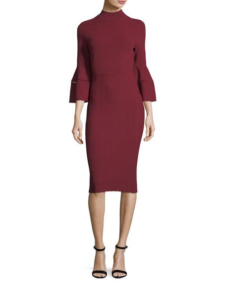 Mock-Neck Flounce-Sleeve Dress