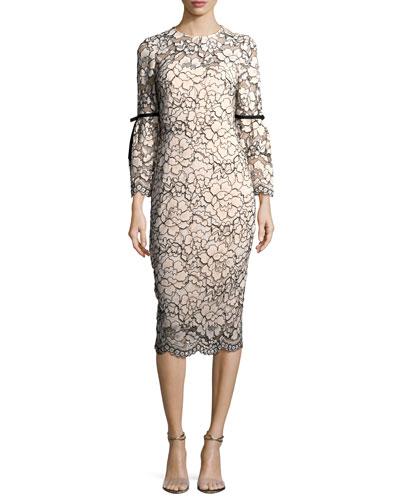 Bell-Sleeve Lace Sheath Dress