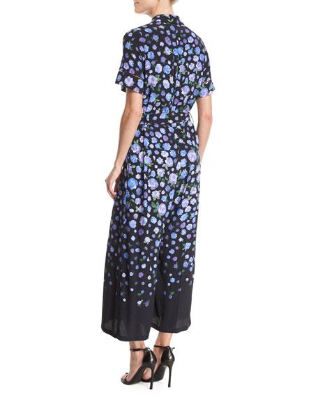Short-Sleeve Floral-Print Jumpsuit