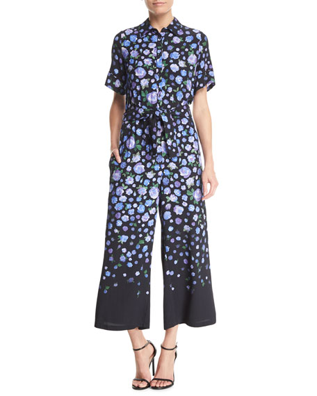 Short-Sleeve Floral-Print Jumpsuit