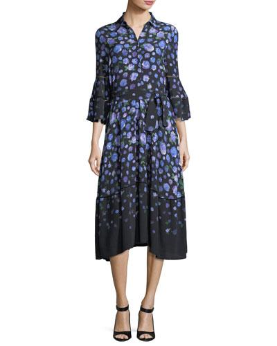Floral-Print Tie-Waist Shirtdress