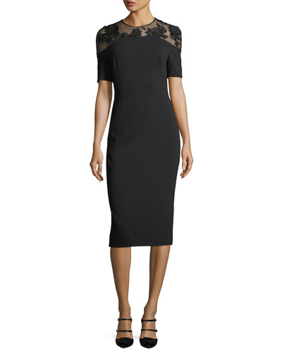 Illusion-Yoke Half-Sleeve Sheath Dress