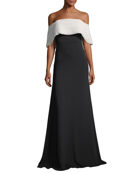 Off-the-Shoulder A-Line Crepe Evening Gown