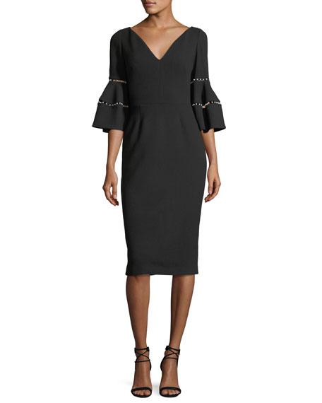 Pearly Half-Sleeve Sheath Dress