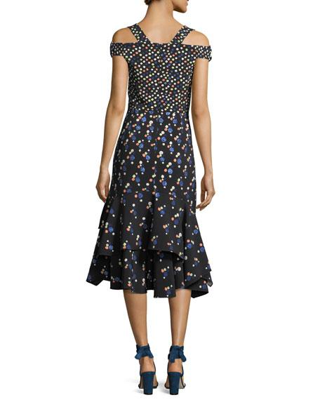 Cold-Shoulder Polka Dot Midi Dress