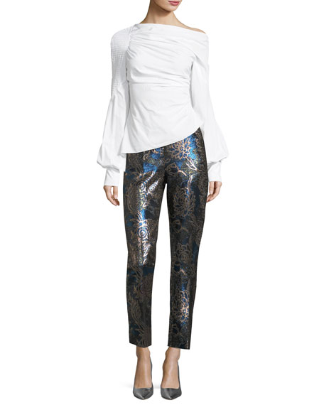 Cropped Metallic Jacquard Pants