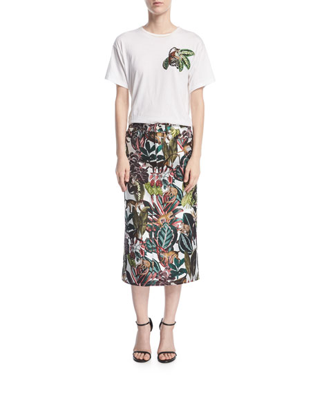 Jungle Jacquard Midi Skirt