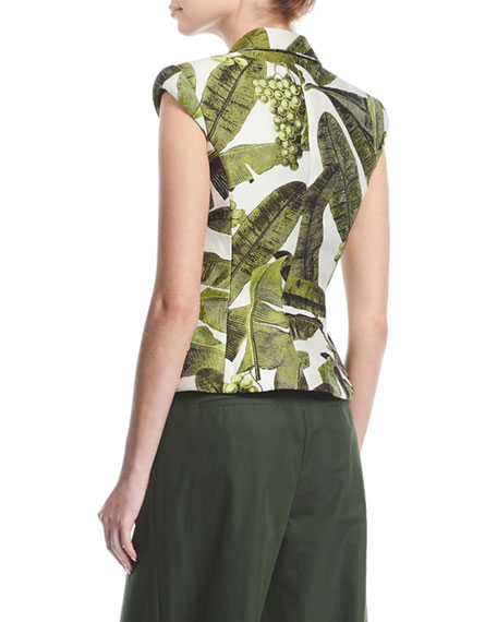 Cap-Sleeve Leaf-Print Peplum Top