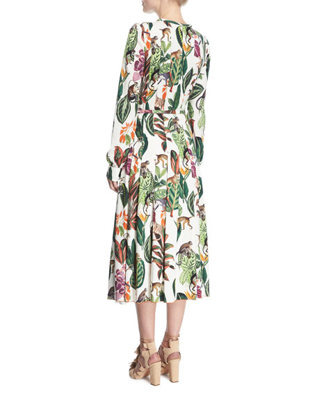 Belted Monkey-Print Dress