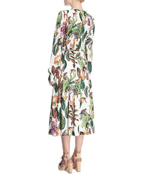 Belted Monkey-Print Dress