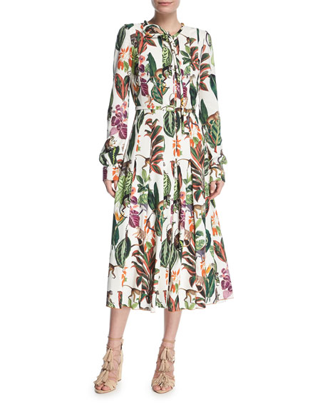 Oscar De La Renta Belted Monkey Print Dress