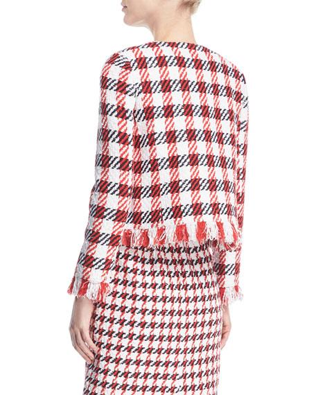 Jumbo Houndstooth Tweed Skirt